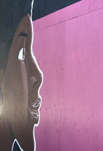 Black-Face-Pink-Background